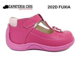 202D FUXIA calzado en cuero para bebé niña