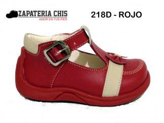 218D ROJO calzado en cuero para bebé niña