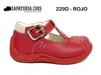 229D ROJO calzado en cuero para bebé niña
