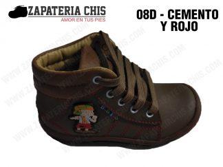 08 - CEMENTO CON ROJO calzado en cuero para niño
