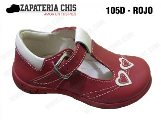 105 - ROJO calzado en cuero para niña