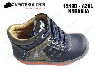 1249 - AZUL NARANJA calzado en cuero para niño