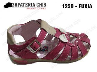 125 - FUXIA calzado en cuero para niña