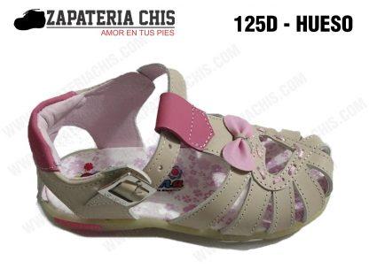 125 - HUESO calzado en cuero para niña