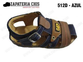 512 - AZUL calzado en cuero para niño