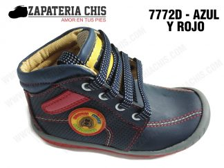 7772 - AZUL CON ROJO calzado en cuero para niño