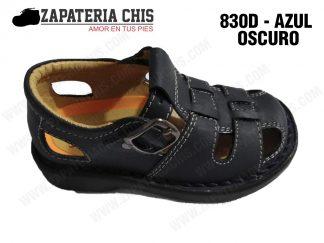 830 - AZUL OSCURO calzado en cuero para niño