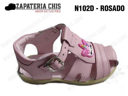 N102 - ROSADO calzado en cuero para niña