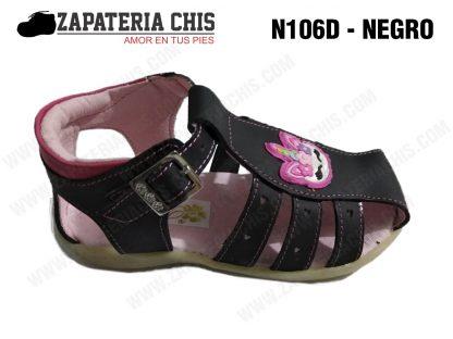 N106 - NEGRO calzado en cuero para niña
