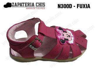 N300 - FUXIA calzado en cuero para niña
